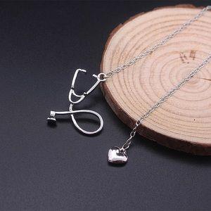 Jewelry - Dainty Silver Stethoscope Heart Pendant Necklace